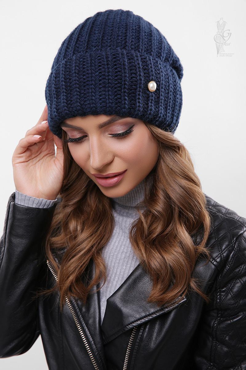 Вязаные женские шапки Грай-4 нить шерсть-акрил