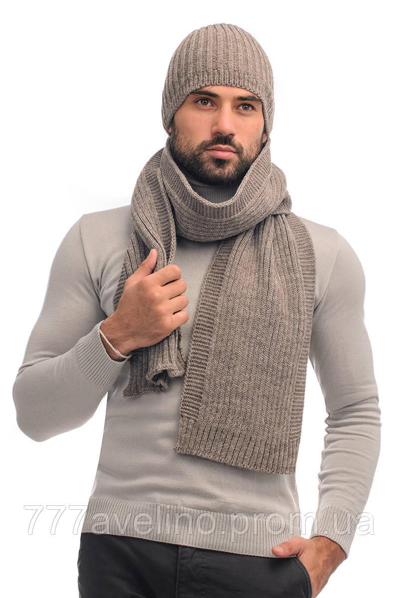 Мужской комплект шапка и шарф  шерсть - 70%