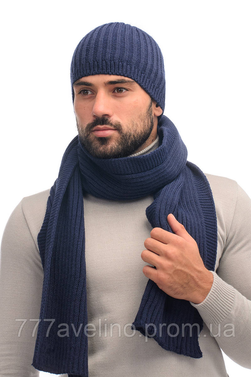 Мужской комплект шапка и шарф  вязаный шерсть - 70%