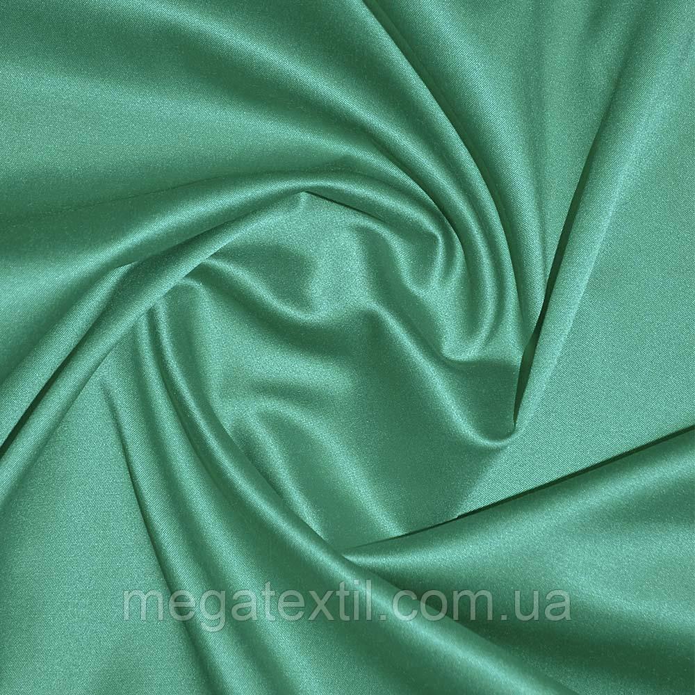 Коттон-атлас зеленый однотонный, ш.150