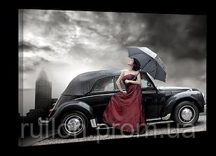 """Картина на холсте YS-Art XP014 """"Нуар, автомобиль и женщина с зонтом"""" 50x70"""