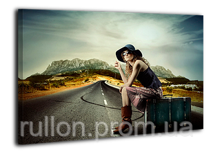 """Картина на холсте YS-Art XP015 """"Женщина на дороге с чемоданом"""" 50x70"""