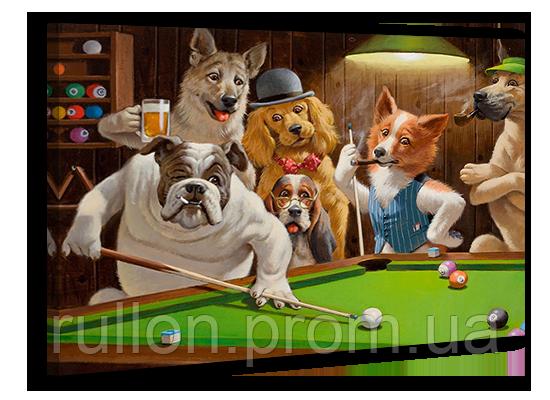 """Картина на холсте YS-Art XP018 """"Собаки в бильярде 1"""" 50x70"""