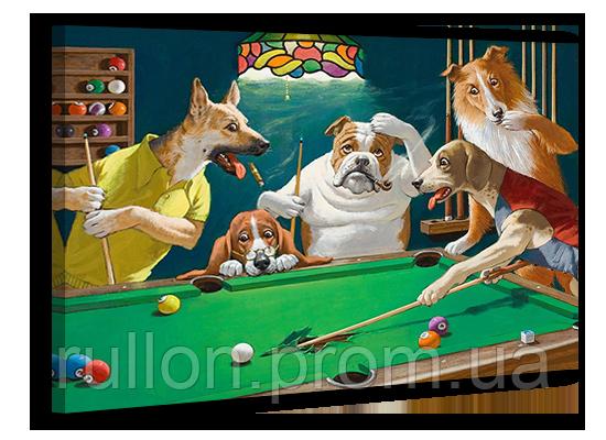 """Картина на холсте YS-Art XP019 """"Собаки в бильярде 2"""" 50x70"""