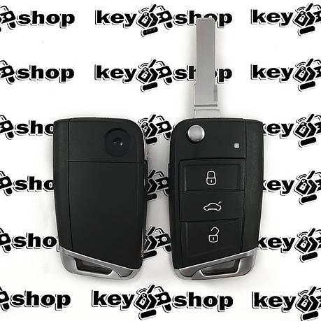 Корпус выкидного автоключа Seat (Сеат), 3 кнопки, лезвие HU66, фото 2
