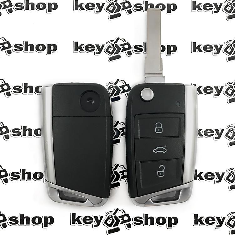 Корпус выкидного автоключа Seat (Сеат), 3 кнопки, лезо HU66