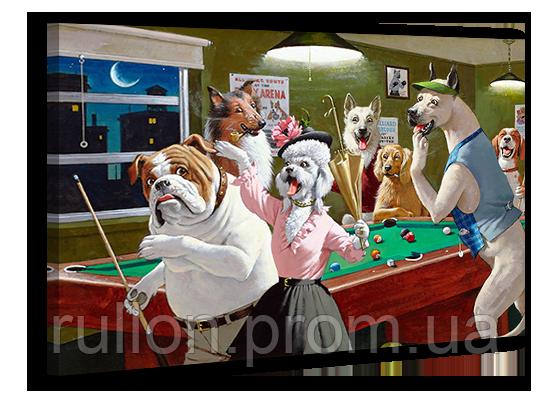 """Картина на холсте YS-Art XP021 """"Собаки в бильярде 4"""" 50x70"""