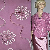 Коттон стрейч розовый, вышитый сутажем ( 12050.001 )