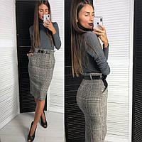 9c12b458439 Костюм женский модный классика теплый гольф и юбка карандаш твид Kld1006