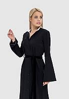 Платье-рубашка с накладными карманами и бархатным пояском