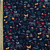 Коттон с ворсом синий темный, слоны, яркие цветы, листья, ш.150 (12069.003)