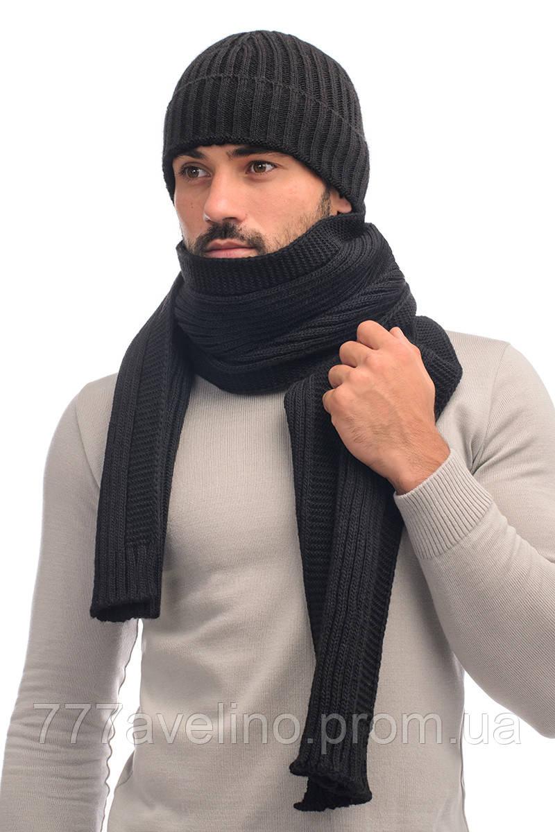 Комплект шапка и шарф мужской