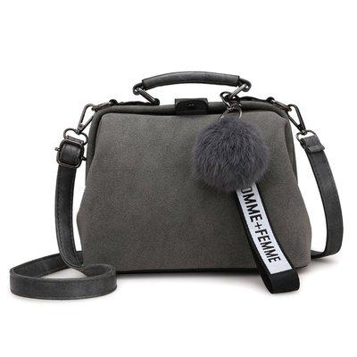 Серая женская сумка с помпоном