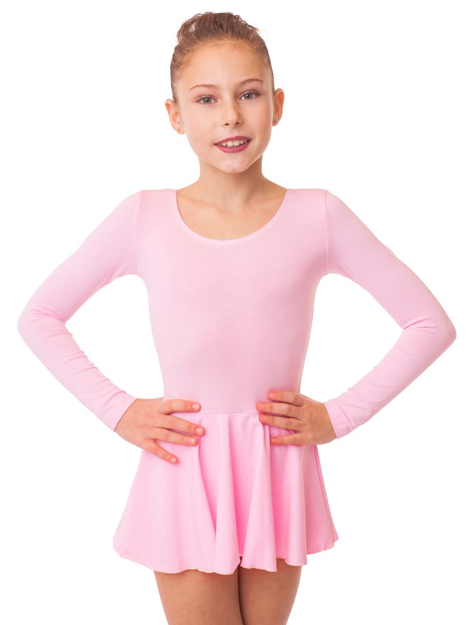 Купальник с юбкой для танцев трикотаж розовый