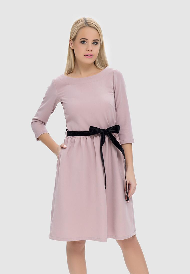 Платье с пуговицами на спинке и бархатным пояском, фото 1
