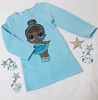 "Туника-платье ""Лола"", трикотаж начес, размер 98-116, голубой, фото 1"