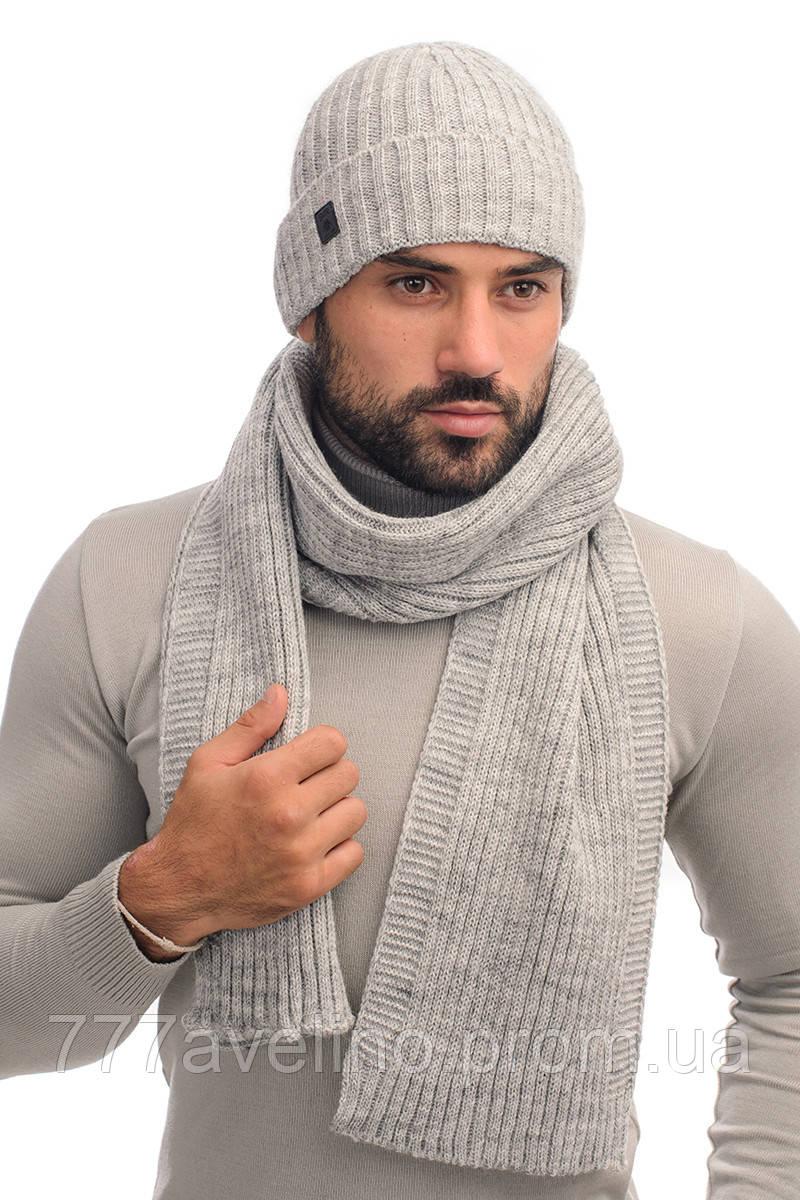 Комплект шапка и шарф зимний шерстяной
