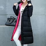 Удлиненная курточка - пальто, теплая зимняя, черная с розовым подкладом., фото 3