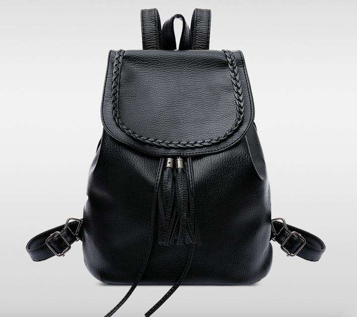 Рюкзак женский кожзам плетенный с кисточкой