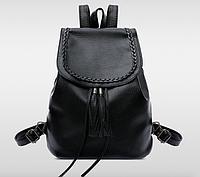 Рюкзак женский кожзам плетенный с кисточкой, фото 1