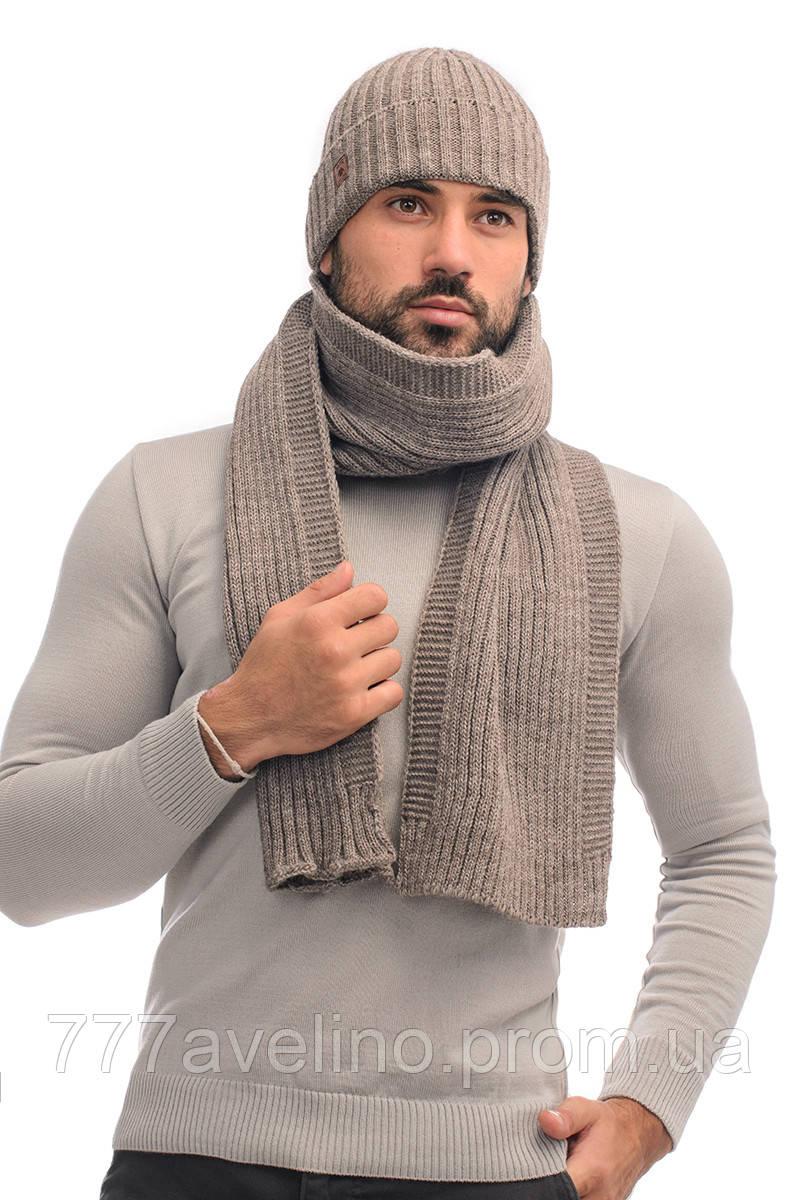 Комплект мужской шапка и шарф