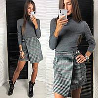 Костюм женский модный теплый гольф и мини юбка на запах твид в клетку Kld1007, фото 1