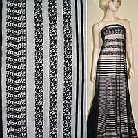 Кружевное полотно черное, двухсторонний купон ш.150 (12301.001)