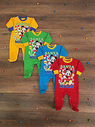 """Детский новогодний комбинезон-человечек """"Santa Mickey"""" для новорожденных малышей"""