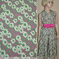 Купра диллон зеленая с молочно-розовыми цветами ш.150 (12403.021)