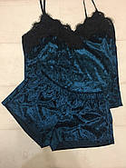 Нежный велюровый комплект майка и шортики, фото 3