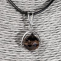 Раухтопаз дымчатый кварц, серебро 925, кулон, 928КЛР