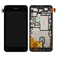 Дисплей для Nokia Lumia 530 (RM-1017, RM-1019), модуль в сборе (экран и сенсор), c рамкой, черный, оригинал