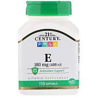 Витамин Е (Vitamin E) токоферолы Tocopherols 21st Century, Е 400, 180мг, 110 гел. капсул