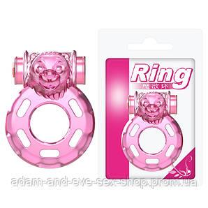 Vibration and condom ring Bear Pink