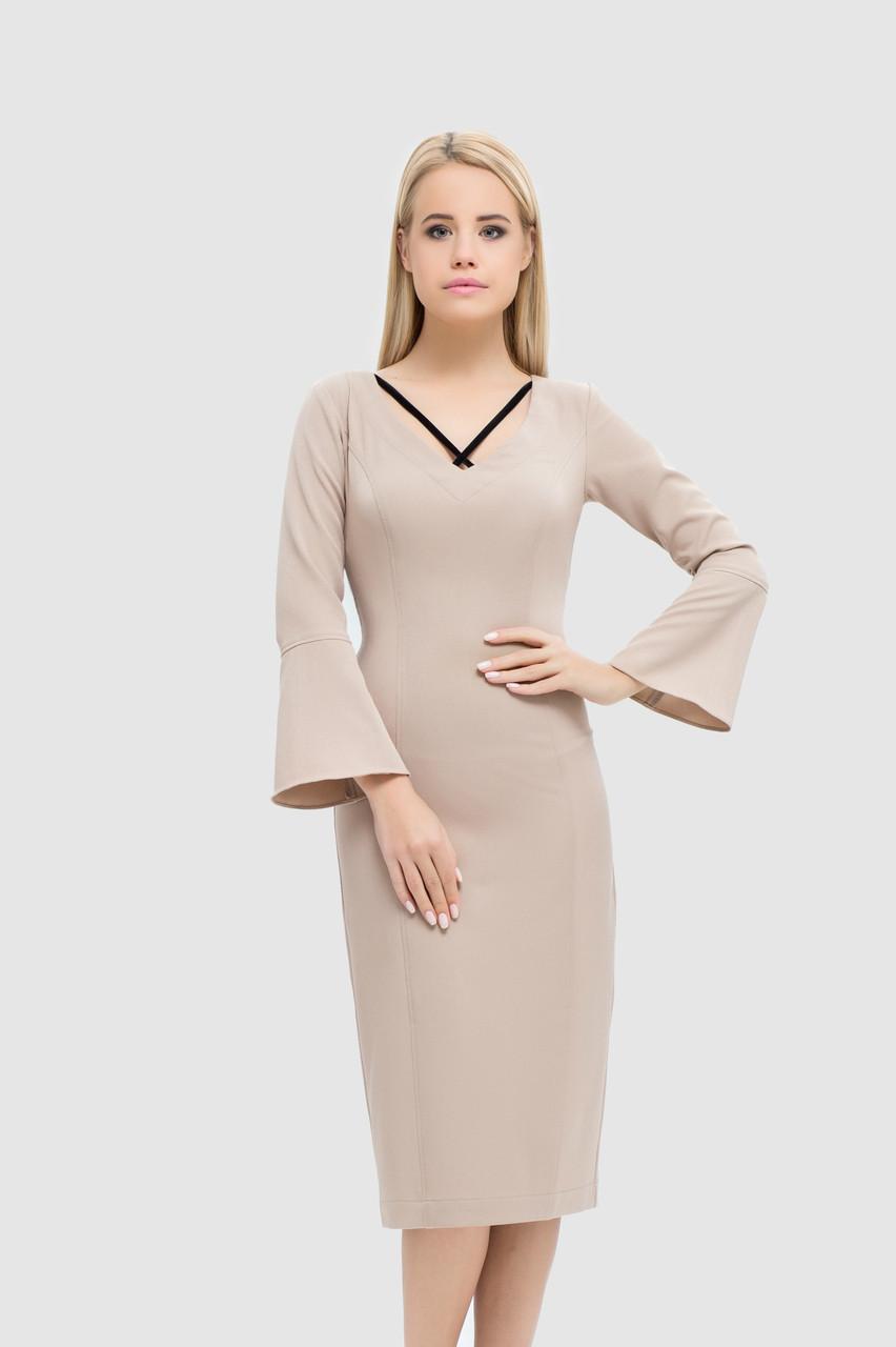 Прилегающее платье с V-образным вырезом и бархатными вставками, фото 1
