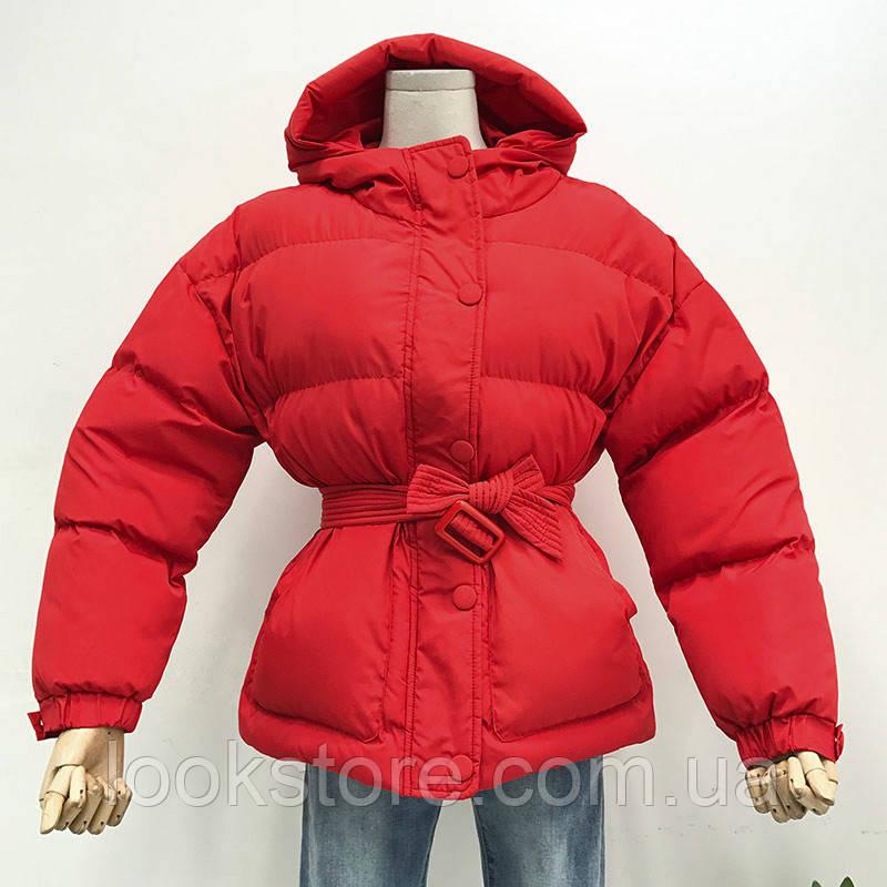 Женская куртка пуховик Зефирка красная