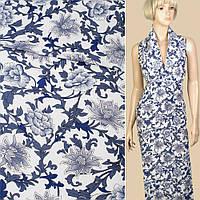 Лен белый в сине-голубые цветы, ветки, ш.140 (12622.004)