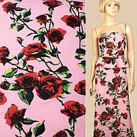 Лен розовый в красные розы, ш.145 (12622.006)