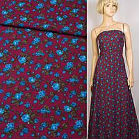 Лен бордовый в синие розы, ш.150 (12622.010)