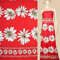 Лен красный, белые ромашки (купон), ш.145 (12622.011)