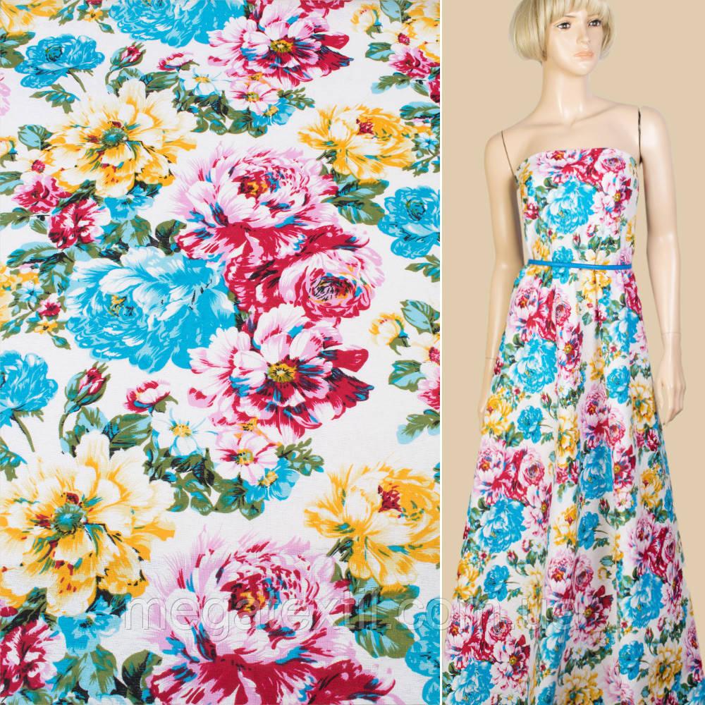 Лен белый в голубые, розовые, желтые цветы, ш.145