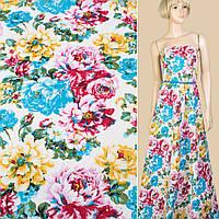 Лен белый в голубые, розовые, желтые цветы, ш.145 (12622.012)