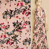 Лен розовый в белые цветы, синие бабочки, ш.145 (12623.018)