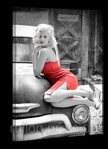 "Картина на холсте YS-Art XP118 ""Женщина на раритетном автомобиле"" 50x70"