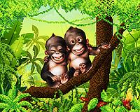 """Схема для вышивки бисером  """"Весёлые обезьянки"""""""