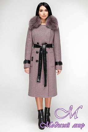 Женское удлиненное зимнее пальто с красивым мехом (р. 44-54) арт. 1157 Тон В12, фото 2