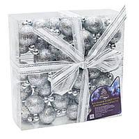 Гирлянда из шаров пенопласт 1,7м*22мм в коробке серебро