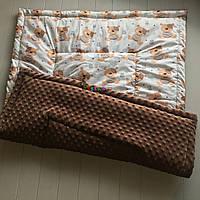 Плюшевый плед Minky с хлопковой подкладкой, шоколадный, фото 1