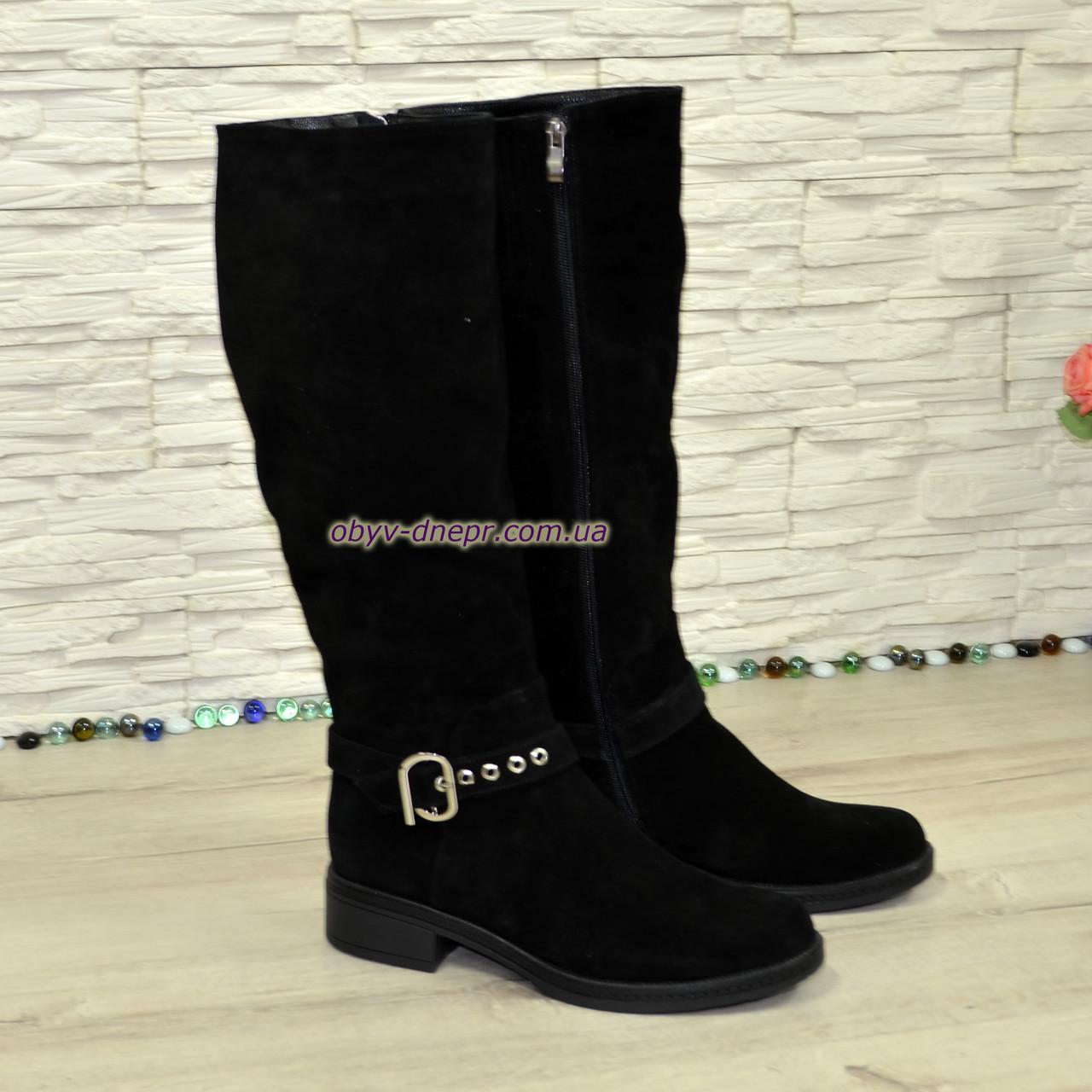 Сапоги женские демисезонные на невысоком каблуке, натуральная замша черного цвета