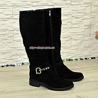 Сапоги женские демисезонные на невысоком каблуке, натуральная замша черного цвета, фото 1